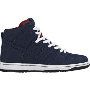 Nike SB Dunk High Premium Shoes - Dark Obsidian/White