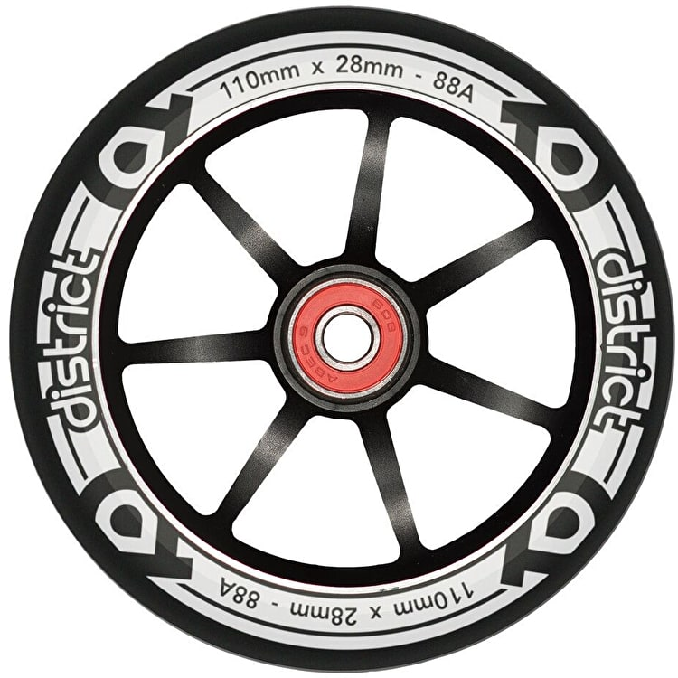 District LP 28mm Wide 110mm Alloy Core Scooter Wheel - Black/Black