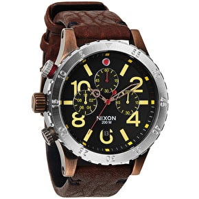 Nixon 48-20 Chrono Leather Watch - Antique Copper/Brown