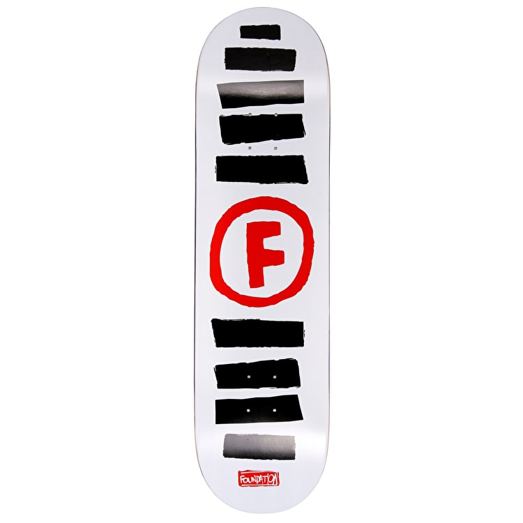 Foundation Doodle Stripe Skateboard Deck - White 8.5""