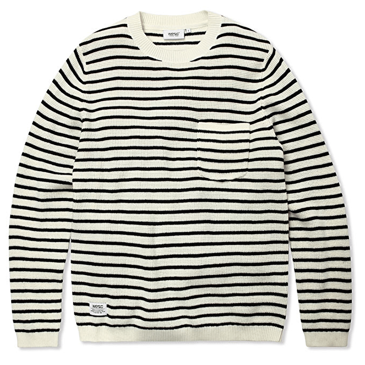 WeSC Striped Hank Sweater - Off White