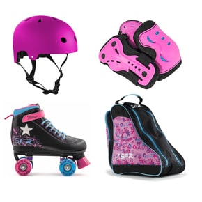 SFR Vision II Lights Quad Roller Skates Bundle - Black/Pink/Blue