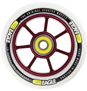 Eagle Red Anodized Spoked Core White PU Wheel - 100mm