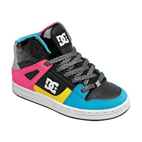 DC Rebound Toddler Shoes - Black/Crazy Pink/ Yellow