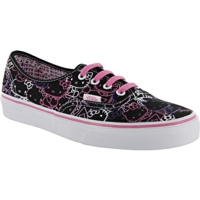 Vans Authentic Shoes- (Hello Kitty) Black/Passion Flower UK2.5 (B-Stock)