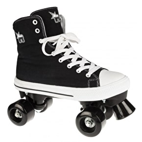 B-Stock Rookie Canvas Quad Rollerskates- Black - UK 2 (Box Damage)