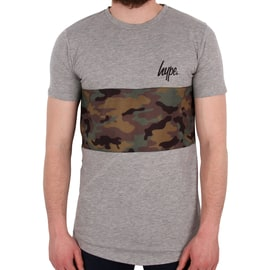 Hype Camo Panel T shirt - Grey/Camo
