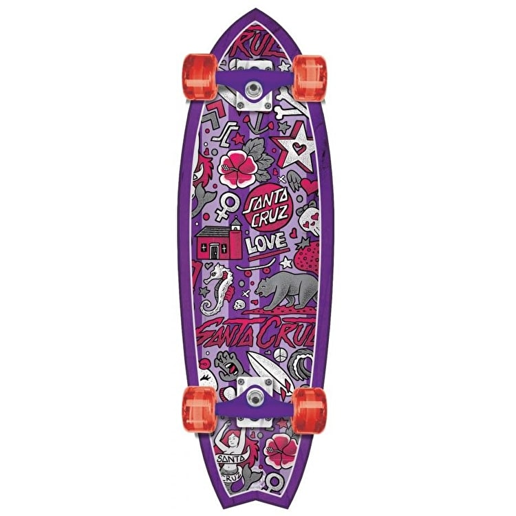 Santa Cruz Land Shark Doodle Shark Complete Cruiser - Purple 33""