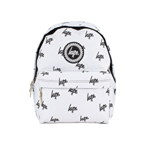 Hype Black/White Embroidered Backpack