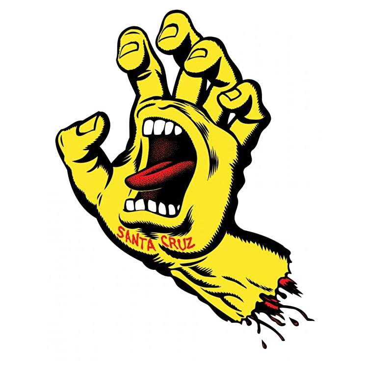 Santa Cruz Screaming Hand Skateboard Sticker - Yellow 6""
