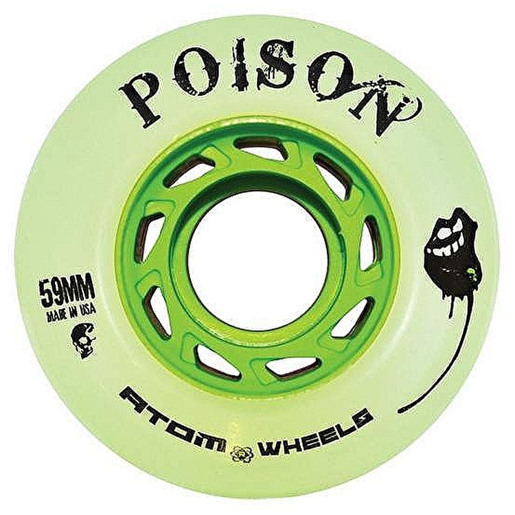 Atom Quad Derby Poison Slim 59mm Wheels 84A  (4pk)- Natural Green