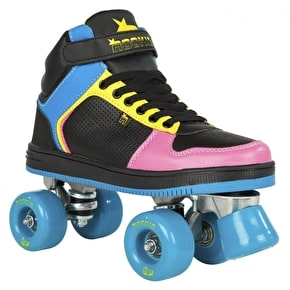 Rookie Quad Roller Skates - Hype Hi-Top Black/Blue/Pink/Yellow