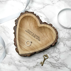Carved Wooden Heart Dish