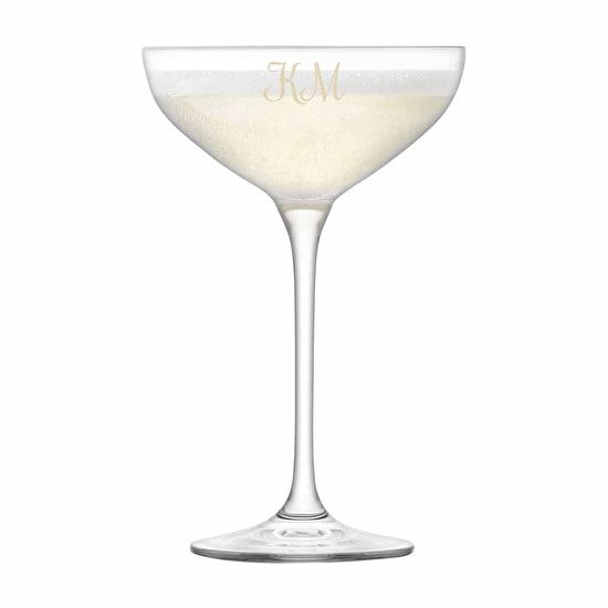Monogrammed L S A Champagne Coupe Stack