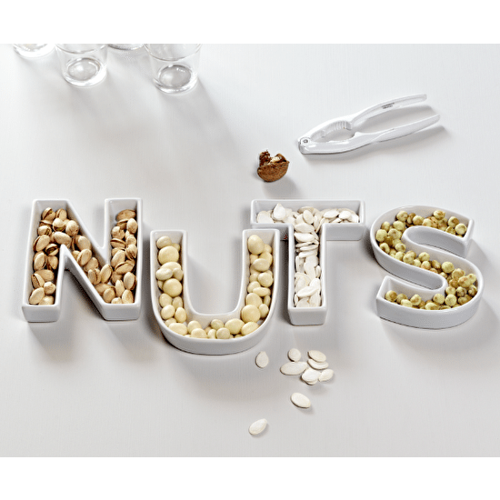 A Set Of 'Nuts' Ceramic Letter Dishes