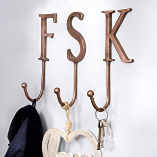 Copper Alphabet Hooks Showing the Letters 'F,S,K'