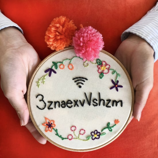 Personalised Wifi Code Embroidery Hoop