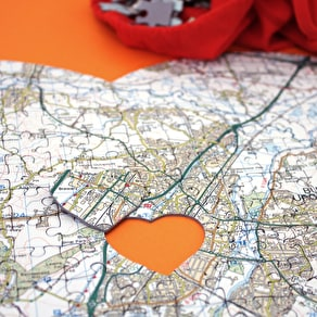 Personalised Heart Postcode Map Jigsaw
