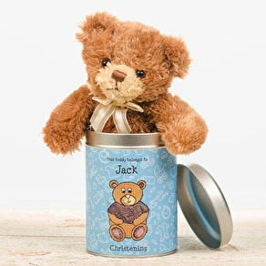 Personalised Christmas Teddy In A Tin