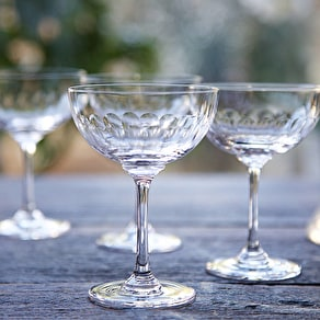 Lens Cut Champagne Coupe Saucer Set