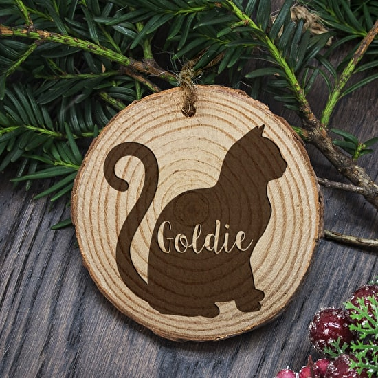 Personalised Wooden Cat Decoration