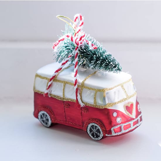 VW Campervan With Tree Christmas Decoration