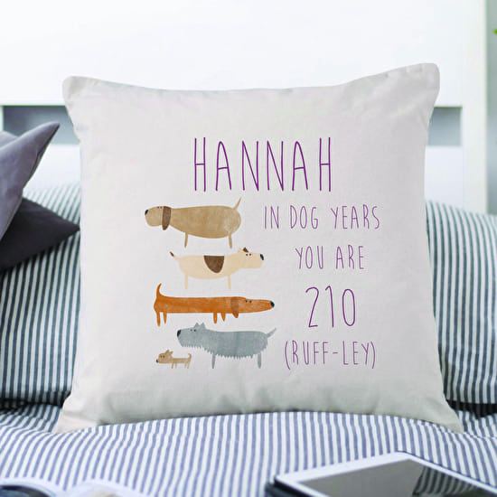 Personalised your age in Dog Years Cushion