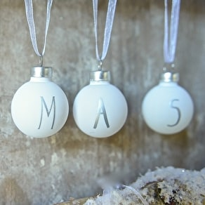 A Set Of White 'Merry Xmas ' Mini Glass Baubles