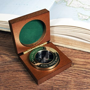 Engraved Brass Compass Paperweight & Wooden Box