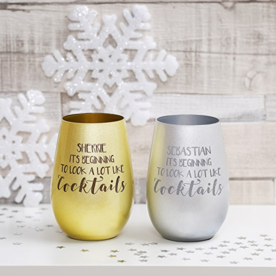 Personalised Metallic Glass Tumblers