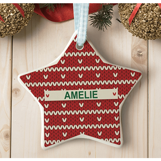 Personalised Knitted Star Decoration