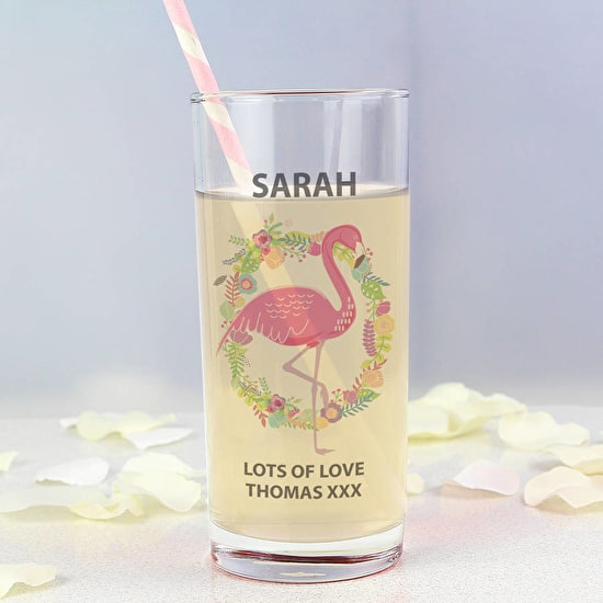 Personalised Flamingo Design Glass