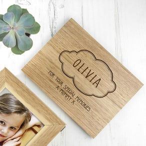 Personalised Name In Cloud Photo Keepsake Box