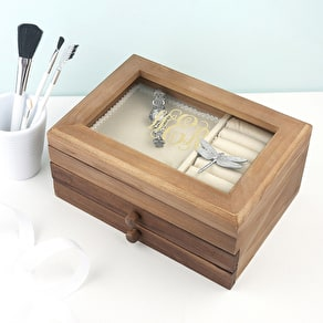 Monogrammed Wooden Jewellery Box