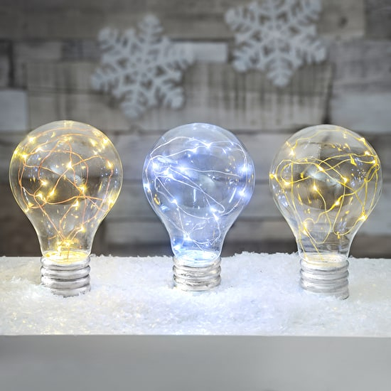 Battery operated gold, copper and silver LED clear light bulb