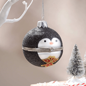 Christmas Penguin Locket Style Bauble