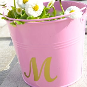 Personalised Pink And Gold Script Buckets