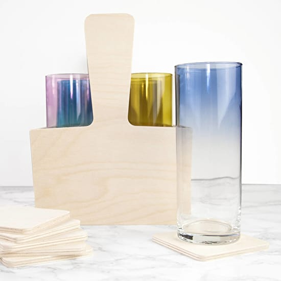 LSA Trug With Six Ombre Cocktail Glasses