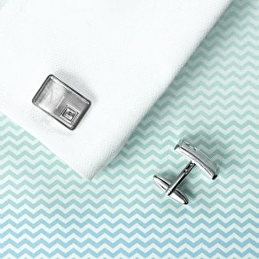 Monogrammed Brushed Silver Cufflinks With Crystal