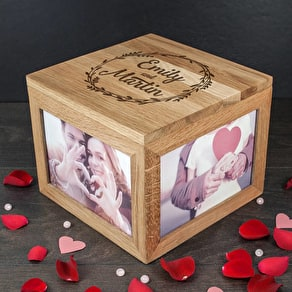 Couple's Oak Photo Keepsake Box