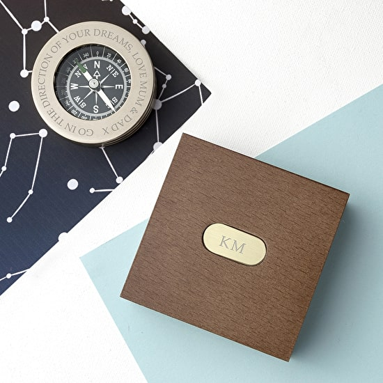 Personalised Brass Compass Paperweight With Wooden Box