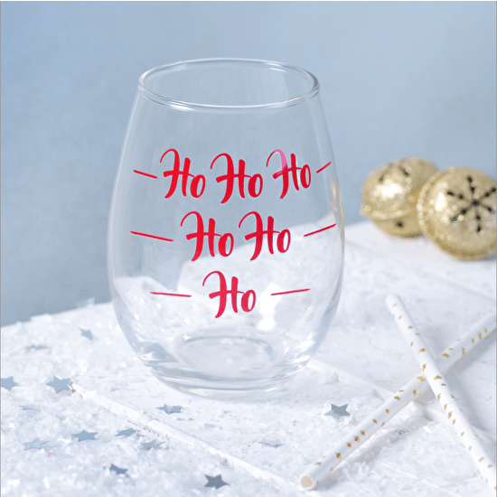 Stemless 'Ho Ho Ho' Christmas Wine Glass