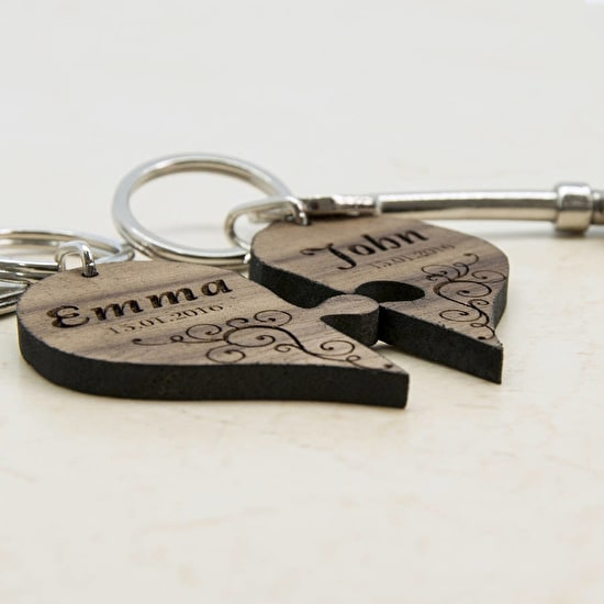 Couples' Romantic Joining Heart Keyring