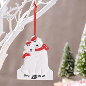 Personalised Hugging Bears Hanging Decoration