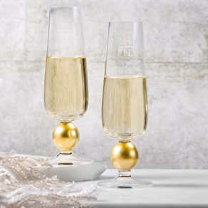 LSA Monogram Champagne Glasses