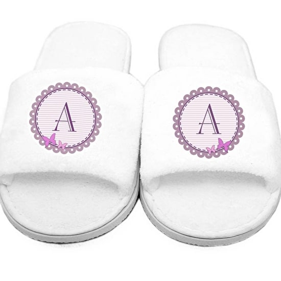 Butterfly Design Initial Velour Slippers