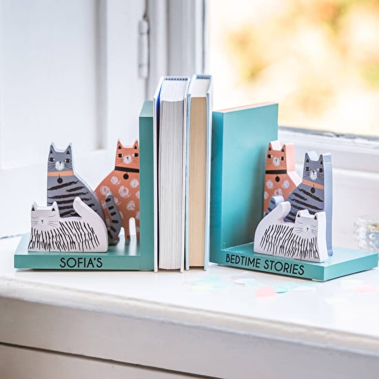 Personalised Cat Bookends