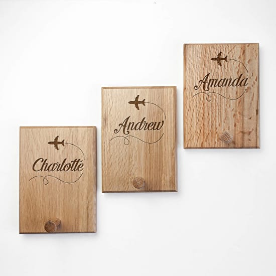 Childs Personalised Oak Coat Hook
