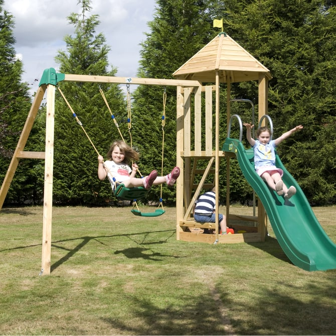 TP Castlewood Tower with slide and swings