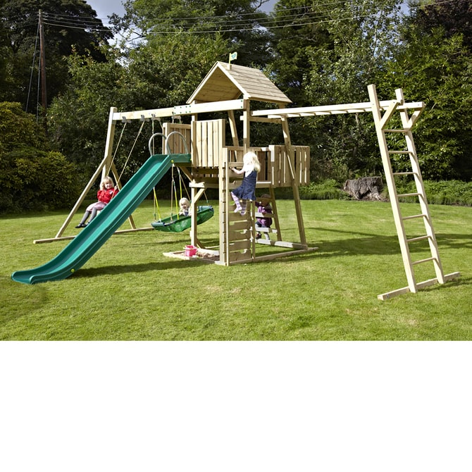 TP Kingswood2 Tower with Swing Arm and the NEW TP Kingswood 2 Climbing Bridge Set (With TP Pirate Boat and Deluxe Swing Seat) - FSC